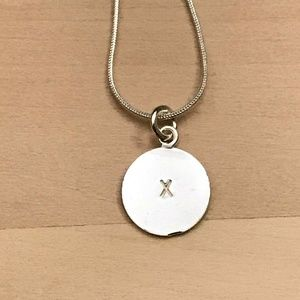 Sterling Silver Letter X Circle Pendant
